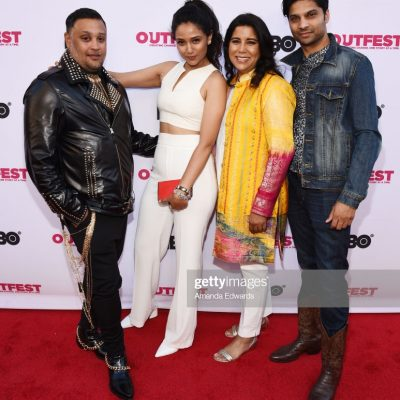 LOS ANGELES, CALIFORNIA - JULY 28: (L-R) Actor Venk Modur, actress Uttera Singh, writer and director Nisha Ganatra and actor Rupak Ginn arrive at the 2019 Outfest Los Angeles LGBTQ Film Festival Closing Night Gala Premiere of